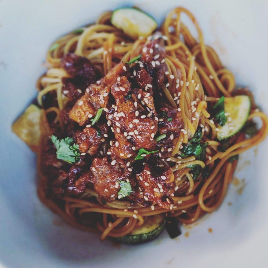 Siracha Dragon Noodles & Crispy Venison Tenderloin withZucchini